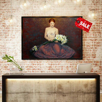 Art Print Canvas Oil Painting Andrew Malinowski, A Girl with Flowers Decor 12x16