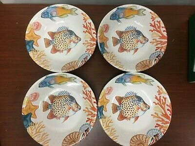 "NEW Williams Sonoma Set of 4 Hawaii Fish Coral Melamine  9"" Soup Cereal Bowls"