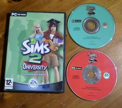 The SIMS 2 - University 'Expansion Pack' - 2 Disc PC CD-ROM GAME without Manual