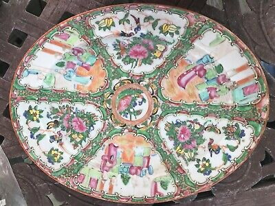 "1840's or 50's Chinese Export Rose Medallion  13.5"" Oval Platter"