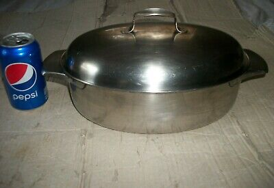 Vintage Revere Ware Small Covered Roaster/Casserole Pan - Stainless Steel