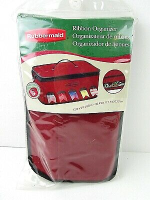 NEW Rubbermaid Ribbon Organizer Canvas Tote Holds 5 Rolls Burgundy  D