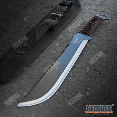 "19.25"" Fixed Blade Full Tang Saw Back Serrated Spine HUNTING Machete w/ Sheath"