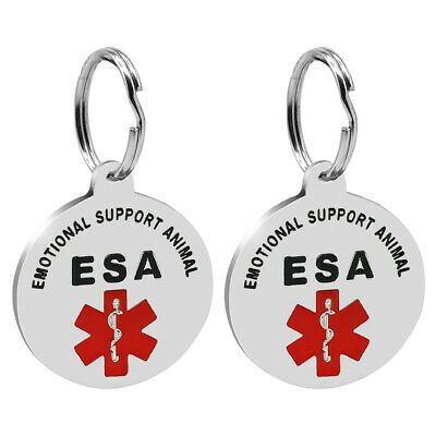 2pcs Emotional Support Animal Dog ID Tags ESA Cat Service Pet Medical Collar Tag