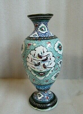 "Vtg ANTIQUE Persian Turkish Hand Painted Birds MINAKARI Enameled Copper 8"" Vase!"
