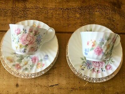2 vintage tea sets, cup, saucer, plates, fine china, mixed, gold