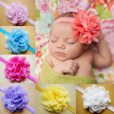 Baby Girls Flower Headband Wedding Party Soft Lace Bow Headband Hair Accessories