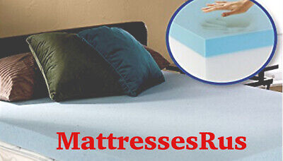 Cool Blue Memory Foam Mattress Topper In Various Depths And Sizes