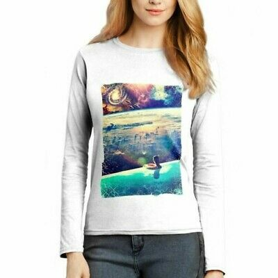 A823W Womens LS T-Shirt Dive Space Woman Spiritual World Earth God Mind Abstract