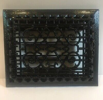 ANTIQUE VICTORIAN CAST IRON FLOOR GRILLE 11 x 9 HEAT GRATE REGISTER w/ LOUVERS