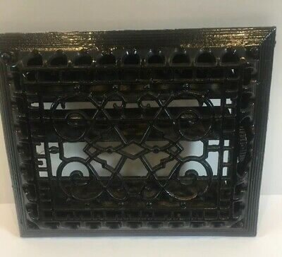ANTIQUE VICTORIAN CAST IRON FLOOR GRILLE 11 x 9 HEAT GRATE REGISTER w/ LOUVERS B