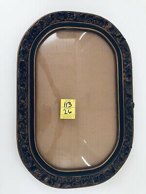 """19""""x12""""x1.75"""" Antique Victorian Ornate Carved Wooden Frame w Convex Bubble Glass"""