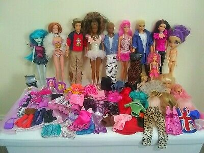 Job Lot Bundle Barbie + Ken Dolls Fashion with Shoes Bags Dresses accessories