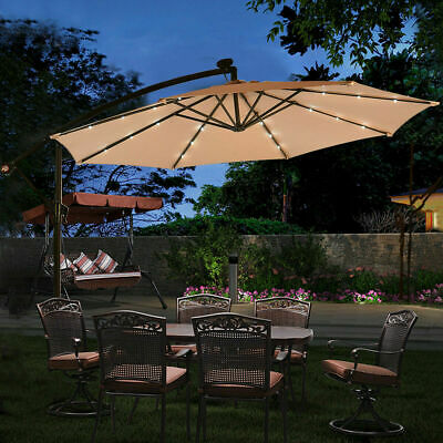 3M 32LED Garden Cantilever Banana Sun Shade LED Parasol Patio Hanging Umbrella