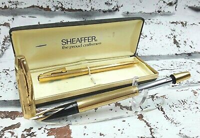 Vintage 1970s rolled gold Sheaffer Imperial Touchdown fountain pen  ballpoint