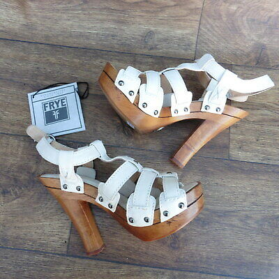Size Uk 5 Frye Dara T-Strap Cream Strappy Sandals With Wooden Heel And Platform