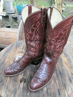 adf8644a89f VINTAGE TONY LAMA Gold Label Men's Cowboy Boots Brown Exotic Leather ...