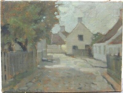 Late 19th Early 20th Century European Oil Signed Brugges Belgium Cityscape Town