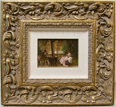 19th Century Original Small French Oil Painting Victorian Figures Signed M STONE