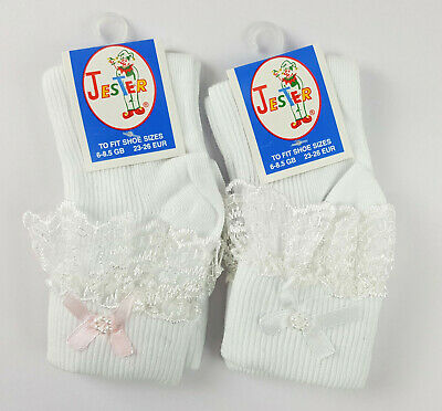 Gorgeous Baby Girls Frilly Lace Socks Pearl White with Pink Bow Ankle By Jester
