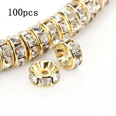 100pcs Rondelle Spacer Beads 6mm Czech Crystal Gold Plated Clear Rhinestone Free