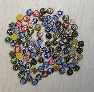 100 Beer Bottle Caps Mixed Lot  Upcycle Craft Projects Collecting Free Shipping