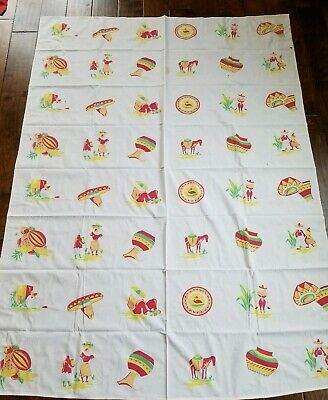 Vintage Mexican Themed Tablecloth Vibrant  Cutter