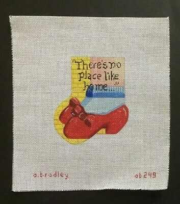 A. Bradley Hand-painted Needlepoint Canvas Mini Sock/There's no place like home