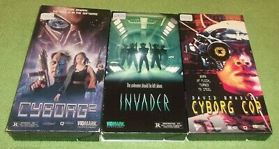 3 Sci Fi VHS Lot Cyborg 2 Invader & Cyborg Cop Horror Very Nice Condition Tested
