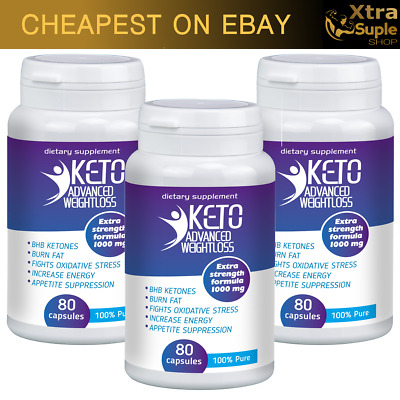 3x KETO Advanced Weight Loss 80 Caps Ketosis Keto Diet Fat Burn & Carb Purefit