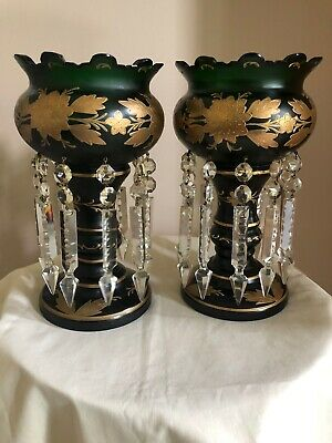 Antique Victorian Bohemian Emerald Green Gold Gilt Hand Painted Mantle Lusters