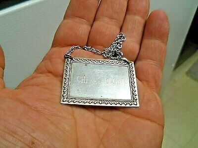 """Vintage """"S.Kirk & Son Sterling- CHIVAS REGAL-Decanter Tag w/ Chain"""" Nice!"""