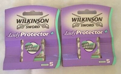 2 x Wilkinson Sword Lady Protector+ Razor 5 Pack - 10 Blades Heads