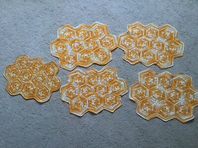 "Lot Of 5  Vintage Hand Crochet Doilies Placemats 17"" X 11.5"" Orange White"