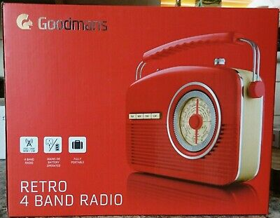 Goodmans RETRO 4 Band Push Button Radio - RED - FM / MW / SW / LW  FAST FREE P&P