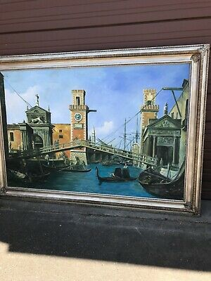 Large Oil on Canvas Painting of Venetian Port, Signed and Framed
