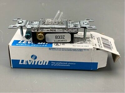 Lot of 10 Leviton 1463-LHC 15A 120V 3 Way Clear Lighted Toggle Switch