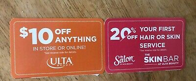 Ulta Coupons.  $10 Off Anything In Store Or On Line. 20% Off Hair Or Skin Serv.