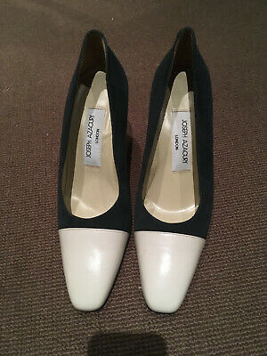 Joseph Azagury Navy Suede & Cream Leather High Heel Shoes Size 40 Never Worn