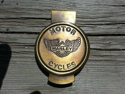 Large Harley Davidson Motorcycle Brass MONEY CLIP Biker Wallet