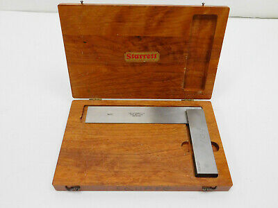 "Vtg The L.S.Starrett No. 20 Metalworking Machinist Square 6"" w Wooden Box VGC"