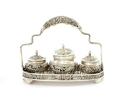 1930's Chinese Sterling Silver Bamboo & Bird Salt & Pepper Spice Tray Basket Set