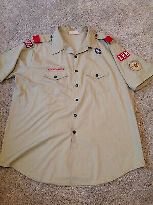 BOY SCOUTS OF AMERICA SHIRT, SZ Adult XXL 2XL Short Sleeve, Beige, khaki - NICE