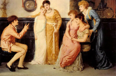 Oil painting Simeon Solomon - A Youth Relating Tales to Ladies girls on canvas