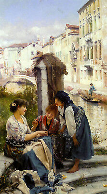 Dream-art Oil painting henry woods the bride betrothed girls by river landscape