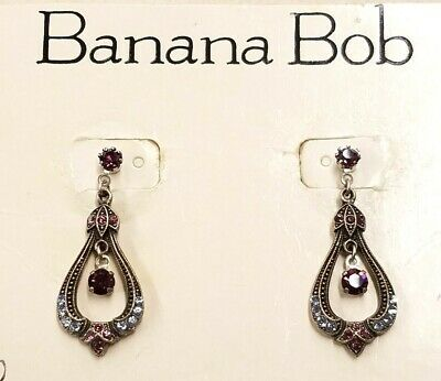 NEW - VINTAGE Banana Bob VICTORIAN STYLE EARRING W BLUE/PINK/PURPLE CRYSTALS