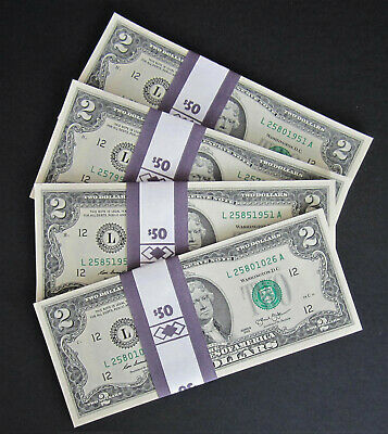 25 TWO DOLLAR Bills NEW $2 Bundle US Paper Money from BEP