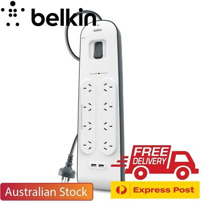 NEW Belkin 8 Way Outlet Surge Protector 2M Power Board 2.4A USB Port