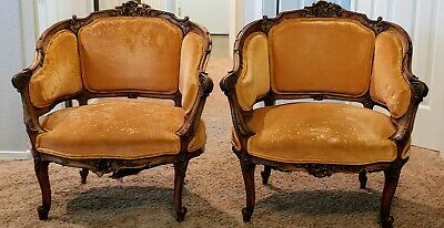 Pair of Antique louis xv Rococo style walnut bergere parlor chairs canape style