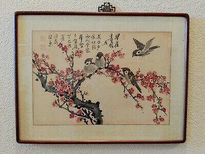 Fine Antique Chinese Bird Branch Cherry Blossom Painting Brushwork Signed Framed